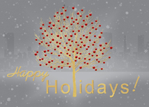Gold Foil Tree Holiday Greeting Cards
